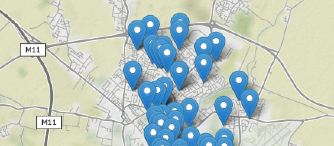 Snapshot of map showing some local services around Cambridge